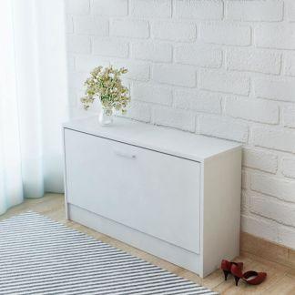 vidaXL Batų dėžė suoliukas, baltas, 80x24x45 cm