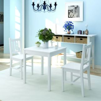 vidaXL Valgomojo baldų komplektas, pušies mediena, baltas
