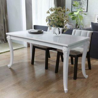 vidaXL Valgomojo stalas, 116x66x76cm, labai blizgus, baltas