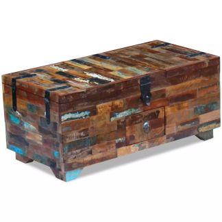 vidaXL Kavos staliukas, skrynia, masyvi perdirbta mediena, 80x40x35 cm