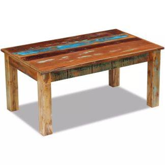 vidaXL Kavos staliukas, masyvi perdirbta mediena, 100x60x45 cm