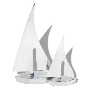Dviejų dalių burinės valties dekoracija, aliuminis, sidabro sp.
