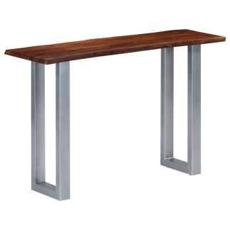 vidaXL Konsolinis staliukas, 115x35x76cm, akac. med. masyv. ir geležis