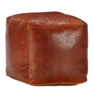 vidaXL Pufas, gelsvai rudas, 40x40x40cm, tikra ožkos oda