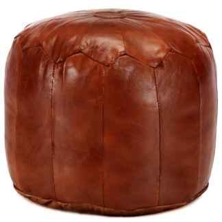 vidaXL Pufas, gelsvai rudas, 40×35 cm, tikra ožkos oda