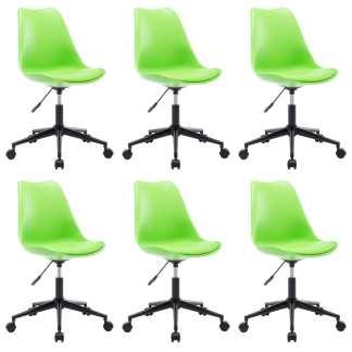 vidaXL Besisukančios valgomojo kėdės, 6vnt., žalios, dirbtinė oda