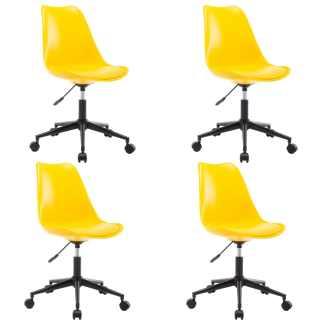 vidaXL Besisukančios valgomojo kėdės, 4vnt., geltonos, dirbtinė oda