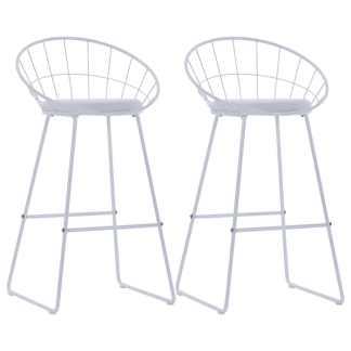 vidaXL Baro kėdės su dirbt. odos sėd., 2 vnt., baltos sp., plienas