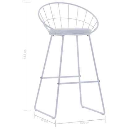 Baro kėdės su dirbt. odos sėd., 2 vnt., baltos sp., plienas
