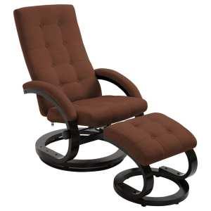 vidaXL Atlošiamas krėslas su pakoja, rudos sp., zomša