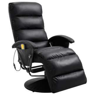 vidaXL Atlošiamas masažinis TV krėslas, juodos sp., dirbtinė oda