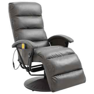 vidaXL Atlošiamas masažinis TV krėslas, pilkos sp., dirbtinė oda