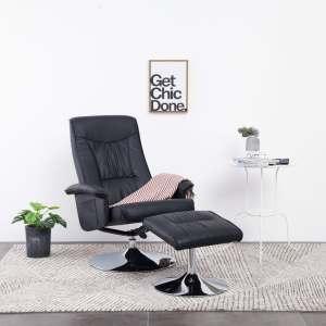 vidaXL Atlošiamas krėslas su pakoja, juodos spalvos, dirbtinė oda