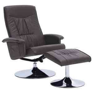 Atlošiamas krėslas su pakoja, pilkos spalvos, dirbtinė oda