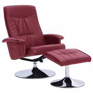 Atlošiamas krėslas su pakoja, raud. vyno spalvos, dirbtinė oda