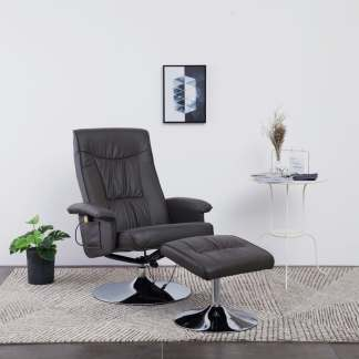 vidaXL Atlošiamas masažinis krėslas su pakoja, pilkos sp., dirbt. oda