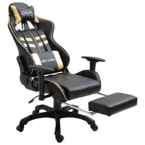 Žaidimų kėdė su atrama kojoms, aukso spalvos, poliuretano putos