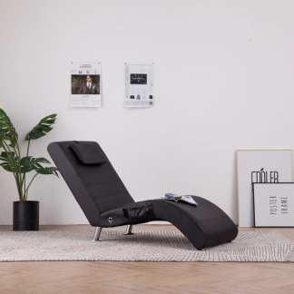 vidaXL Masažinis gultas su pagalve, rudas, dirbtinė oda