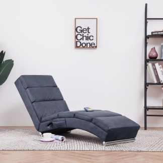vidaXL Masažinis poilsio gultas, pilkas, dirbtinė versta oda
