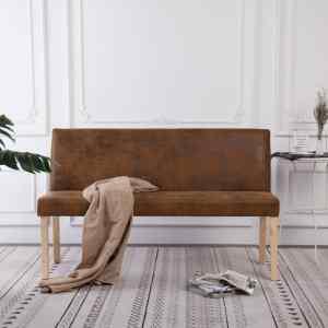 vidaXL Suoliukas, rudas, 139,5cm, dirbtinė versta oda
