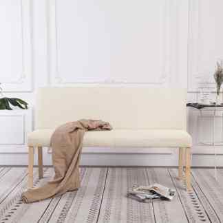 vidaXL Suoliukas, kreminės spalvos, 139,5cm, poliesteris