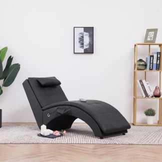 vidaXL Masažinis gultas su pagalve, juodas, dirbtinė oda