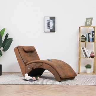 vidaXL Masažinis gultas su pagalve, rudas, dirbtinė versta oda