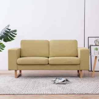 vidaXL Dvivietė sofa, žalia, audinys