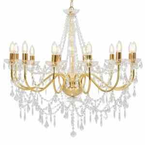 vidaXL Sietynas su karoliukais, auksinės spalvos, 12 x E14 lemputės