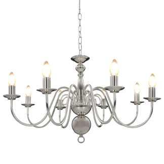vidaXL Sietynas, sidabrinės spalvos, 8 x E14 lemputės