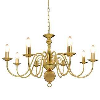 vidaXL Sietynas, auksinės spalvos, 8 x E14 lemputės