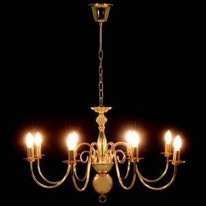 Sietynas, auksinės spalvos, 8 x E14 lemputės