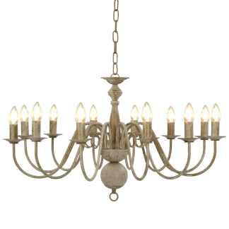 vidaXL Sietynas, baltos spalvos, 12 x E14 lemputės, senovinio stiliaus