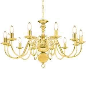 vidaXL Sietynas, auksinės spalvos, 12 x E14 lemputės