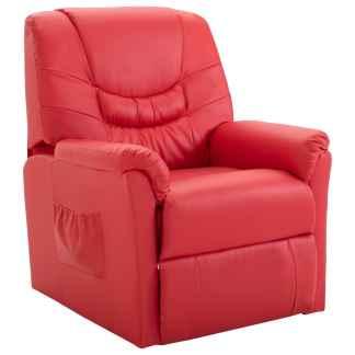 vidaXL Atlošiamas krėslas, raudonos spalvos, dirbtinė oda
