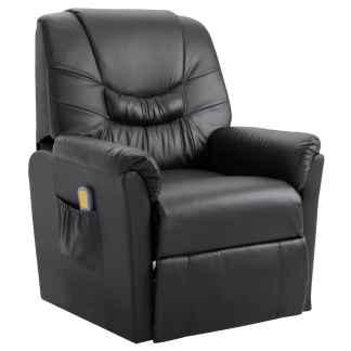 vidaXL Elektrinis atlošiamas masažinis krėslas, pilkos sp., dirbt. oda