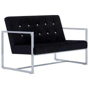 Dvivietė sofa su porankiais, juodos sp., chromas ir aksomas