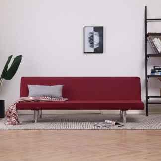 vidaXL Sofa-lova, raudonojo vyno spalvos, poliesteris