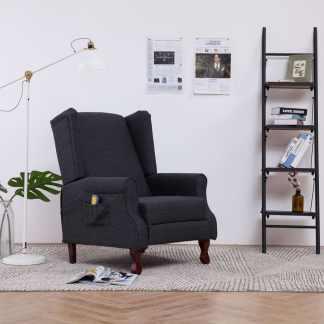 vidaXL Elektrinis atloš. masažinis krėslas, tams. pilk. sp., audinys