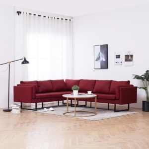 vidaXL Kampinė sofa, raudonos spalvos, audinys