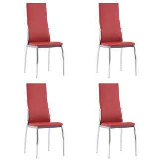 vidaXL Valgomojo kėdės, 4 vnt., raudonos spalvos, dirbtinė oda