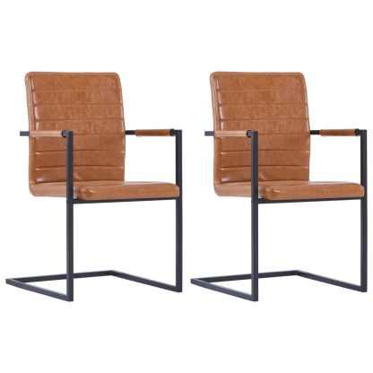vidaXL Valgomojo kėdės, 2 vnt., blizg. rudos sp., dirbt. oda, gembinės