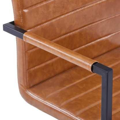 Valgomojo kėdės, 2 vnt., blizg. rudos sp., dirbt. oda, gembinės