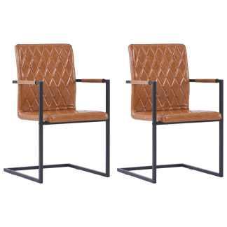 vidaXL Valg. kėdės, 2 vnt., blizgios rudos sp., dirbt. oda, gembinės