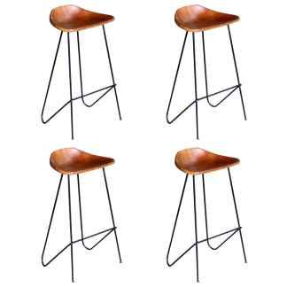 vidaXL Baro kėdės, 4vnt., rudos spalvos, tikra oda