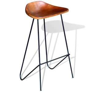 Baro kėdės, 4vnt., rudos spalvos, tikra oda