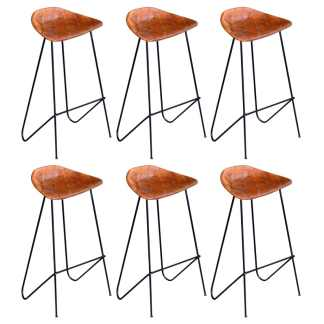 vidaXL Baro kėdės, 6vnt., rudos spalvos, tikra oda