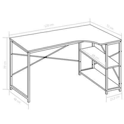 Kompiuterio stalas, baltas, 120x72x70cm