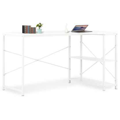 vidaXL Kompiuterio stalas, baltas, 120x72x70cm