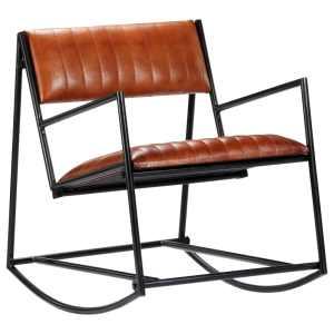 Supamas krėslas, rudos sp., tikra oda